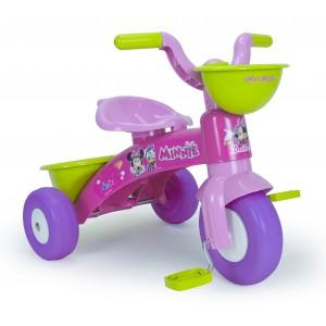 Tricycle Minnie coloré avec panier avant et benne arrière