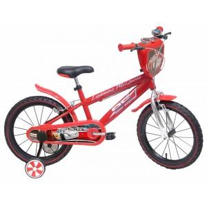 Vélo 16 pouces CARS, avec gourde et roulettes de stabilisation amovibles