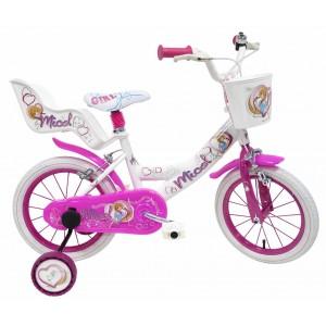 Vélo Micol 10 pouces fille avec panier, siège poupée et roulettes amovibles