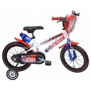 Vélo 16 pouces RT Boy Skate garçon avec gourde, écusson déco et roulettes amovibles