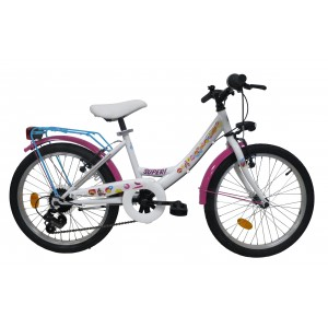 Vélo Soy Luna 20 pouces fille 5 vitesses avec garde-boue, carter de protection et porte-bagages