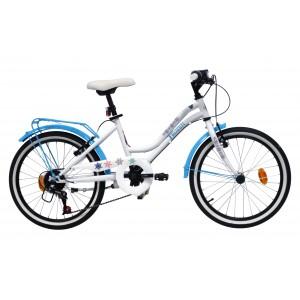 Vélo La Reine des Neiges 20 pouces fille 6 vitesses avec garde-boue, carter de protection et porte-bagages