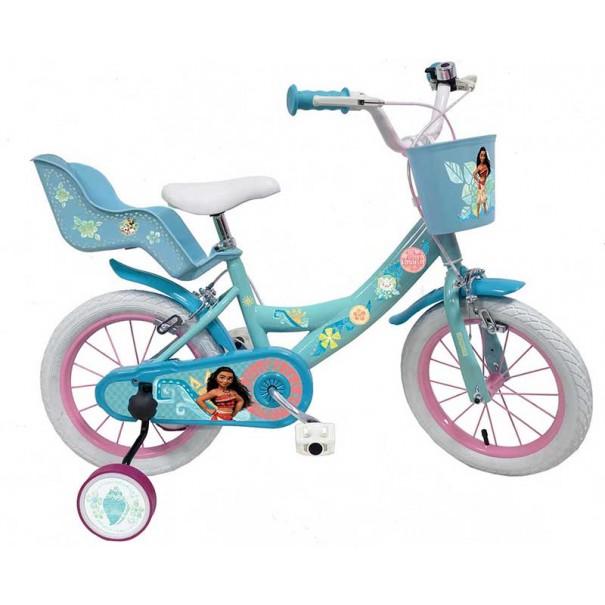Vélo Vaiana 14 pouces avec panier avant et porte-bébé