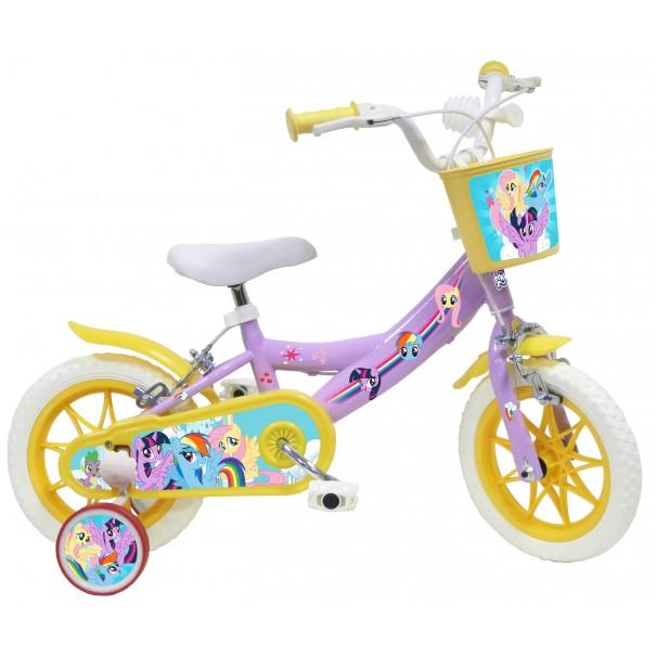 Vélo 12 pouces Mon Petit Poney avec roulettes, panier et sonnette