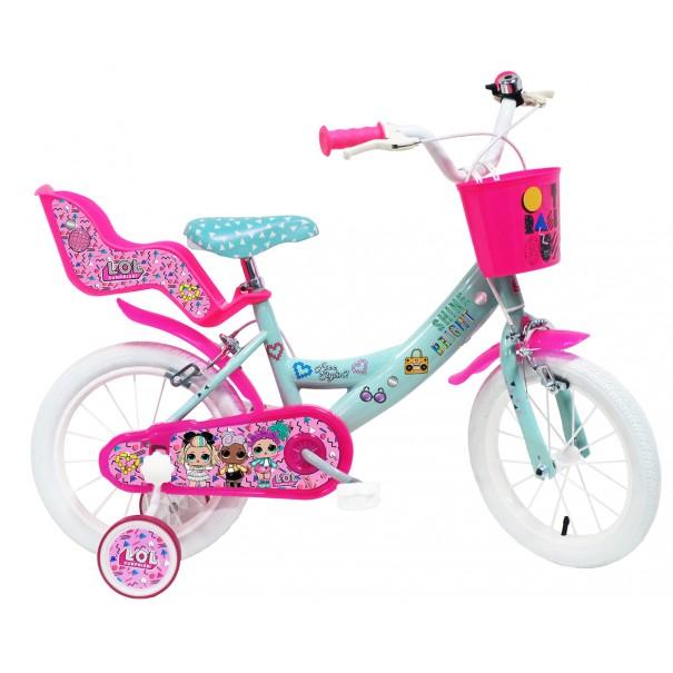 Vélo LOL 14 pouces avec panier, siège poupée et roulettes amovibles
