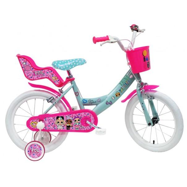 Vélo LOL 16 pouces avec panier, siège poupée et roulettes amovibles