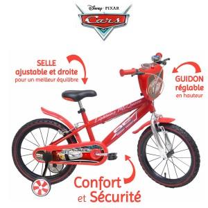 Vélo Cars 16 pouces, avec gourde et roulettes de stabilisation amovibles