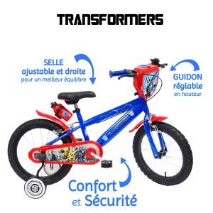 Vélo 16 pouces Transformers avec roulettes et gourde