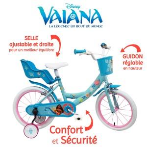 Vélo Vaiana 16 pouces avec panier avant et porte-bébé