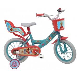 Vélo Elena d'Avalor 14 pouces avec panier, siège poupée et roulettes amovibles