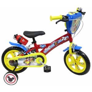 Vélo Mickey Racer 12 pouces avec écusson, gourde et roulettes amovibles