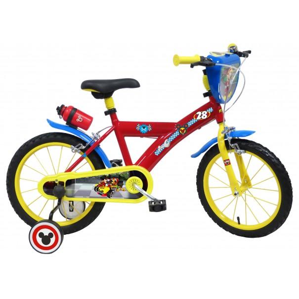 Vélo Mickey Racer 16 pouces avec écusson, gourde et roulettes amovibles