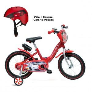 Vélo Évolutif Cars + Casque 6 à 10 ans | Vélo Fabriqué en Italie | Enfant de 3 à 7 Ans, 95 à 120 cm