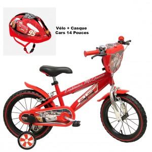 Vélo Cars Flash Mcqueen 14 pouces + Casque 3-7 ans | Vélo Fabriqué en Italie | Enfant de 3 ans, 4 ans ou 5 ans