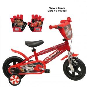 Vélo Cars 10 pouces + Gants | Vélo Fabriqué en Italie | Enfant de 1 an, 2 ans ou 3 ans, 75 à 95 cm