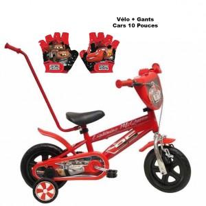 Vélo CARS 10 pouces avec canne de guidage + Gants | Vélo Fabriqué en Italie | Enfant de 1 an, 2 ans ou 3 ans, 75 à 95 cm