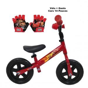 Draisienne Cars 10 Pouces + Gants | Vélo Fabriqué en Italie | Enfant de 1 an, 2 ans ou 3 ans, 75 à 95 cm