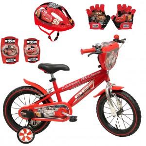 Vélo Cars 14 pouces + Set Protection (Casque, Gants et Genouillères) | Vélo Fabriqué en Italie | Enfant de 3 ans, 4 ans ou 5 ans