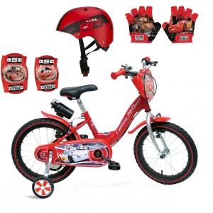 Vélo évolutif Cars + Set Protection Casque, Gants et Genouillères | Fabriqué en Italie | Enfant de 3 à 7 Ans, 95 à 120 cm