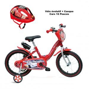 Vélo évolutif Cars + Casque 3-7 ans | Vélo Fabriqué en Italie | Enfant de 3 à 7 Ans, 95 à 120 cm