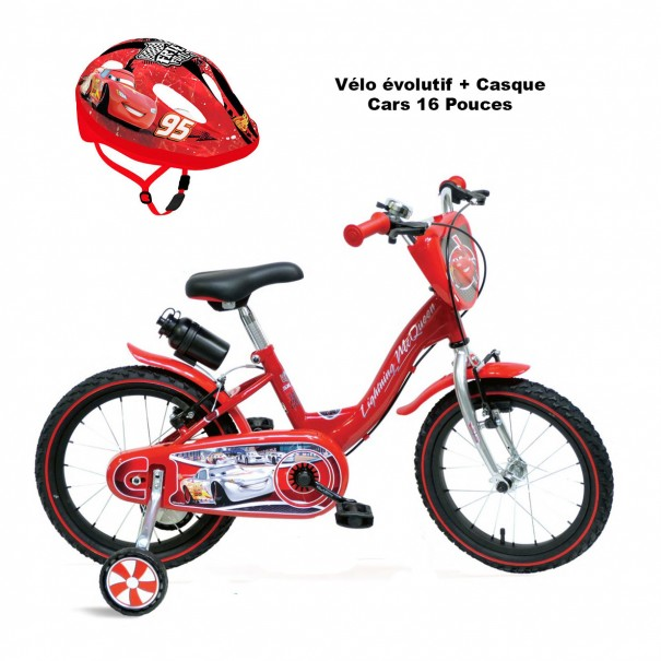 Vélo évolutif Cars + Casque 3-7 ans