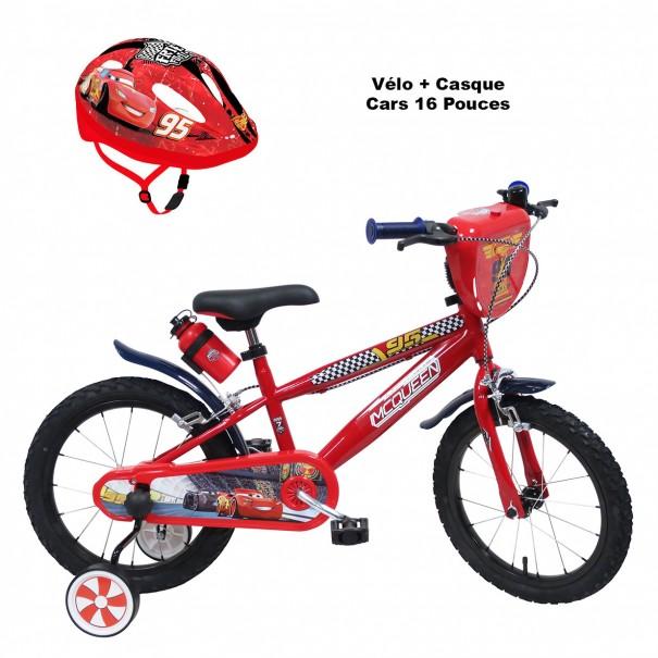 Vélo 16 pouces Cars + Casque 3-7 ans