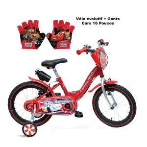 Vélo évolutif Cars + Gants | Vélo Fabriqué en Italie | Enfant de 3 à 7 Ans, 95 à 120 cm