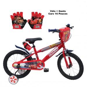 Vélo 16 pouces Cars + Gants | Vélo Fabriqué en Italie | Enfant de 5 ans, 6 ans ou 7 ans, 105 à 120 cm