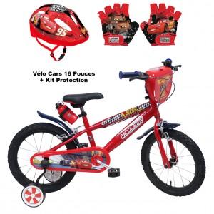 Vélo 16 pouces Cars + Kit Protection Gants et Casque | Vélo Fabriqué en Italie | Enfant de 5 ans, 6 ans ou 7 ans, 105 à 120 cm