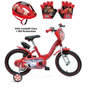 Vélo évolutif Cars + Kit Protection Gants et Casque | Vélo Fabriqué en Italie | Enfant de 3 à 7 Ans, 95 à 120 cm