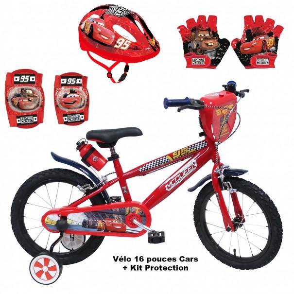 Vélo 16 pouces Cars + Set Protection (Casque, Gants et Genouillères)