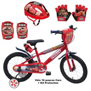 Vélo 16 pouces Cars + Set Protection (Casque, Gants et Genouillères) | Vélo Fabriqué en Italie | Enfant de 5 ans, 6 ans ou 7 ans