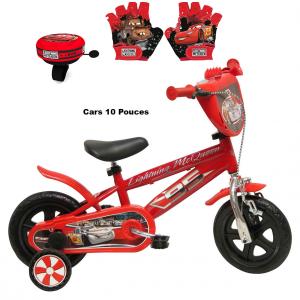 Vélo Cars 10 pouces + Sonnette + gants | Vélo Fabriqué en Italie | Enfant de 1 an, 2 ans ou 3 ans, 75 à 95 cm