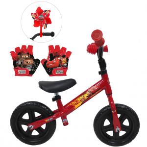 Draisienne Cars 10 pouces + Moulin à vent + gants | Vélo Fabriqué en Italie | Enfant de 1 an, 2 ans ou 3 ans, 75 à 95 cm