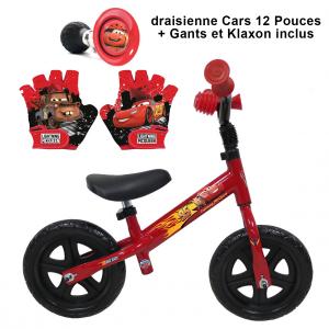 Draisienne 10 pouces Cars + Klaxon + Gants | Vélo Fabriqué en Italie | Enfant de 1 an, 2 ans ou 3 ans, 75 à 95 cm