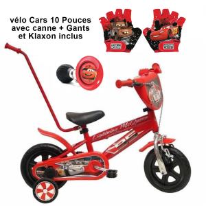 Vélo Cars 10 pouces avec canne de guidage + Klaxon + Gants | Fabriqué en Italie | Enfant de 1 an, 2 ans ou 3 ans, 75 à 95 cm