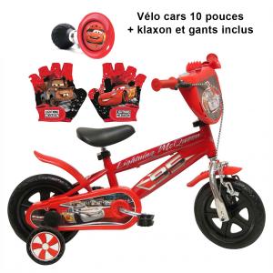 Vélo Cars 10 pouces + Klaxon + Gants | Fabriqué en Italie | Enfant de 1 an, 2 ans ou 3 ans, 75 à 95 cm