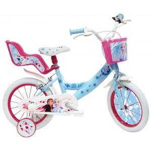 """Vélo enfant fille La Reine des Neiges 2 - 14 pouces (3/5 ans) - Coloris Bleu/Rose - (""""Distributeur Officiel"""")"""