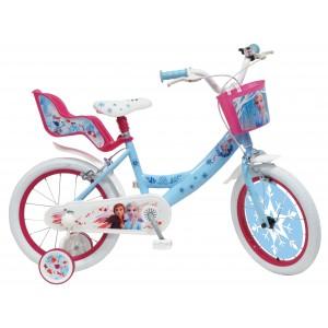 """Vélo enfant fille La Reine des Neiges 2 - 16 pouces (5/7 ans) - Coloris Bleu/Rose - (""""Distributeur Officiel"""")"""