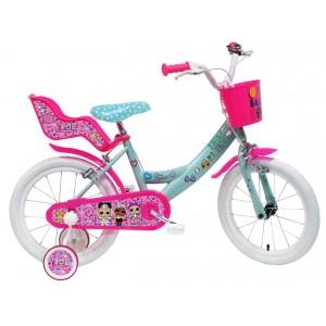 """Vélo enfant fille LOL - 16 pouces (5/7 ans) - Coloris Rose/Bleu - (""""Distribution Officiel"""")"""