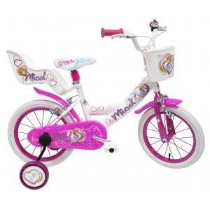 """Vélo enfant fille Micol - 16 pouces - 5/7 ans - Coloris Rose/Blanc - (""""Distributeur Officiel"""")"""