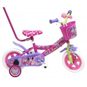 """Vélo enfant fille Minnie - 10 pouces avec canne de guidage (1/3 ans) - Coloris rose - (""""Distributeur Officiel"""")"""