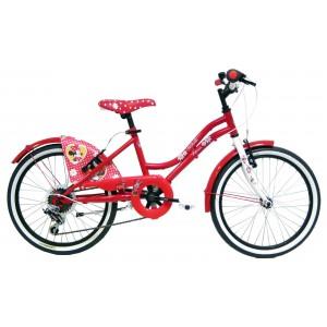 """Vélo enfant fille Minnie - 20 pouces (7/9 ans) - Coloris Rouge - (""""Distributeur Officiel"""")"""