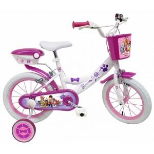 """Vélo enfant fille Pat Patrouille Skye Everest - 14 pouces (3/5 ans) - Coloris Blanc/Violet - (""""Distributeur Officiel"""")"""