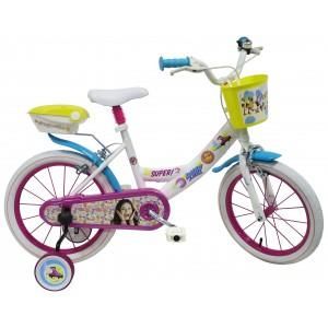 """Vélo enfant fille Soy Luna - 16 pouces (5/7 ans) - Coloris Rose/Blanc - (""""Distributeur Officiel"""")"""