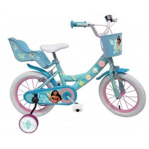 """Vélo enfant fille Vaiana - 14 pouces (3/5 ans) - Coloris Bleu - (""""Distributeur Officiel"""")"""