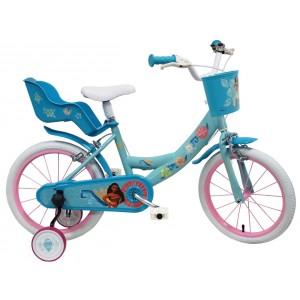 """Vélo enfant fille Vaiana - 16 pouces (5/7 ans) - Coloris Bleu - (""""Distributeur Officiel"""")"""