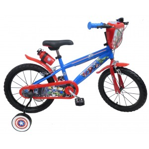 """Vélo enfant garçon/fille Avengers - 16 pouces (5/7 ans) - Coloris Rouge/Bleu - (""""Distributeur Officiel"""")"""