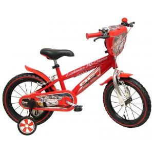 """Vélo enfant garçon Cars Flash McQueen - 14 pouces (3/5 ans) - Coloris Rouge - (""""Distributeur Officiel"""")"""
