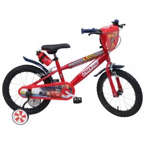 """Vélo enfant garçon Cars Flash McQueen - 16 pouces (5/7 ans) - Coloris Rouge - (""""Distributeur Officiel"""")"""